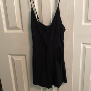 tobi black romper with flap at front that ties !
